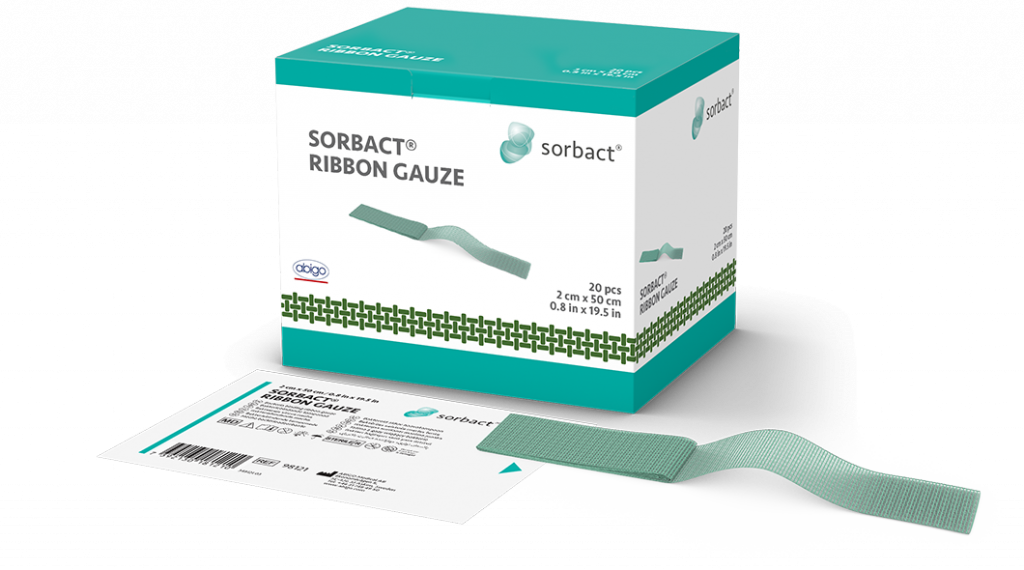 Sorbact Ribbon Gauze single product with primary and secondary product packaging