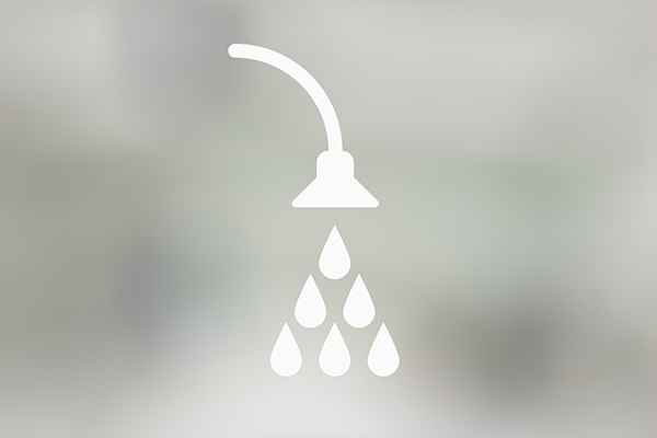 An illustration of a shower with waterdrops