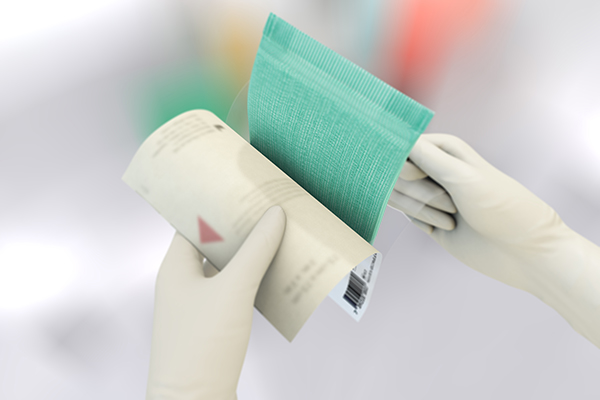 Two illustrated hands instructing how to open a Sorbact superabsorbent dressing package.